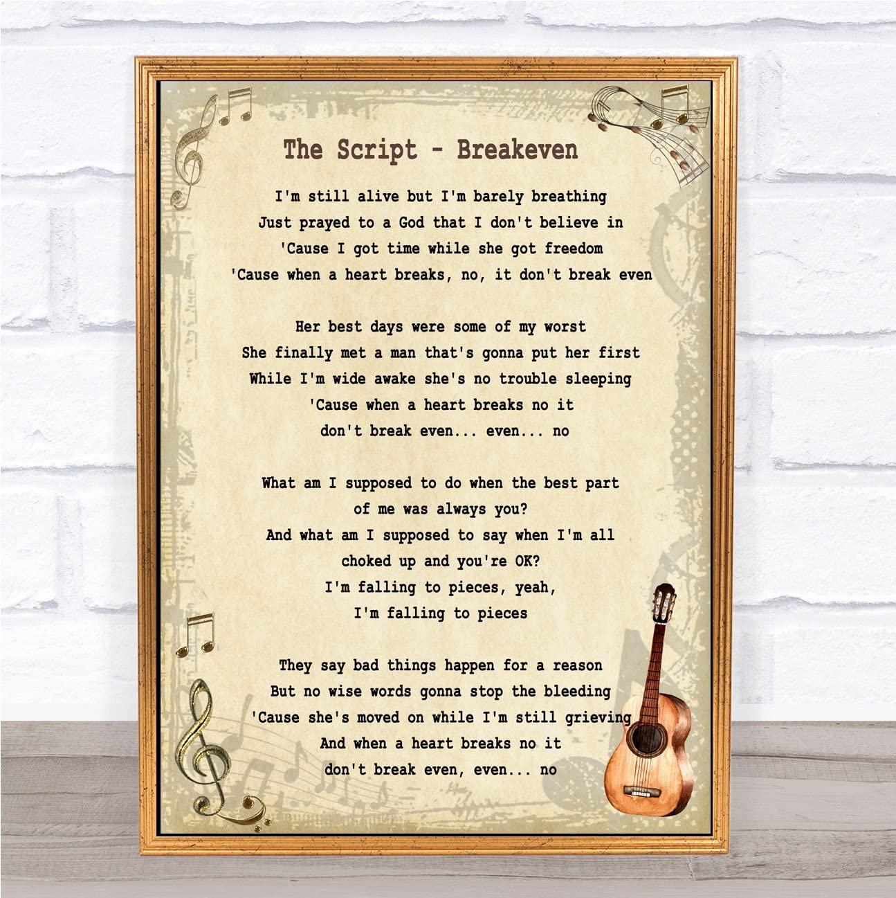 I/'m Alive Script Heart Song Lyric Quote Print