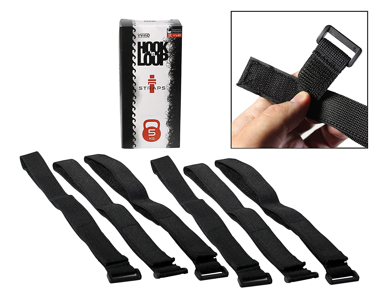 Hook 'n Loop Industrial Strength 1 x 27 Reusable Black Nylon Looping Straps (6 Strap Pack) VViViD