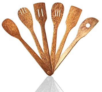 6 Piece Coconut Wood Kitchen Utensils Wooden Spoon And Spatula Set With Unique And Elegant