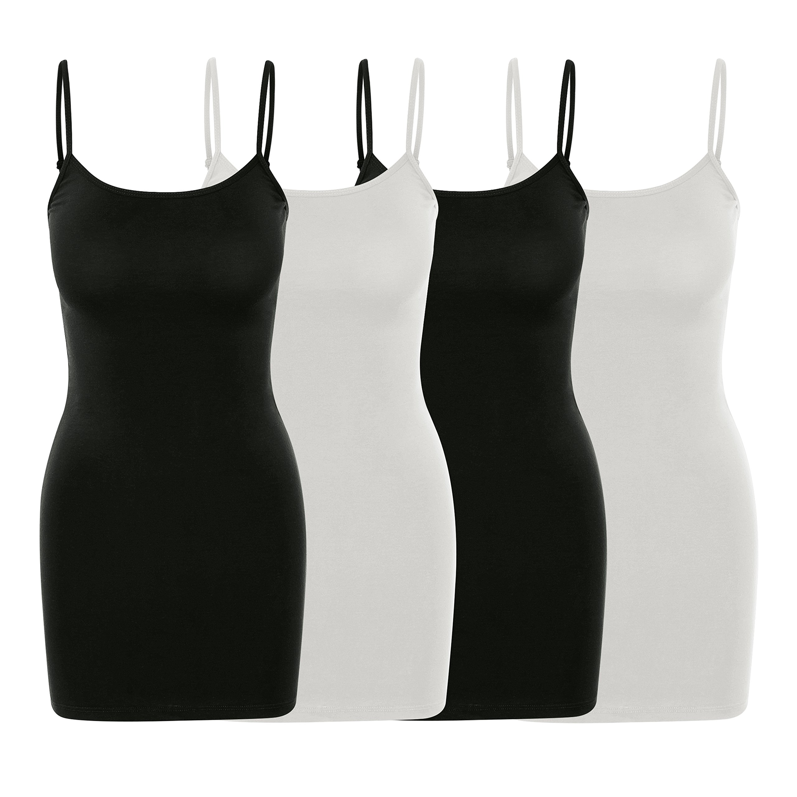 Nolabel [WT402 4 Pack Women's Basic Active Long Length Adjustable Spaghetti Strap Cami Tank Top [2WH/2BK] 2X Large