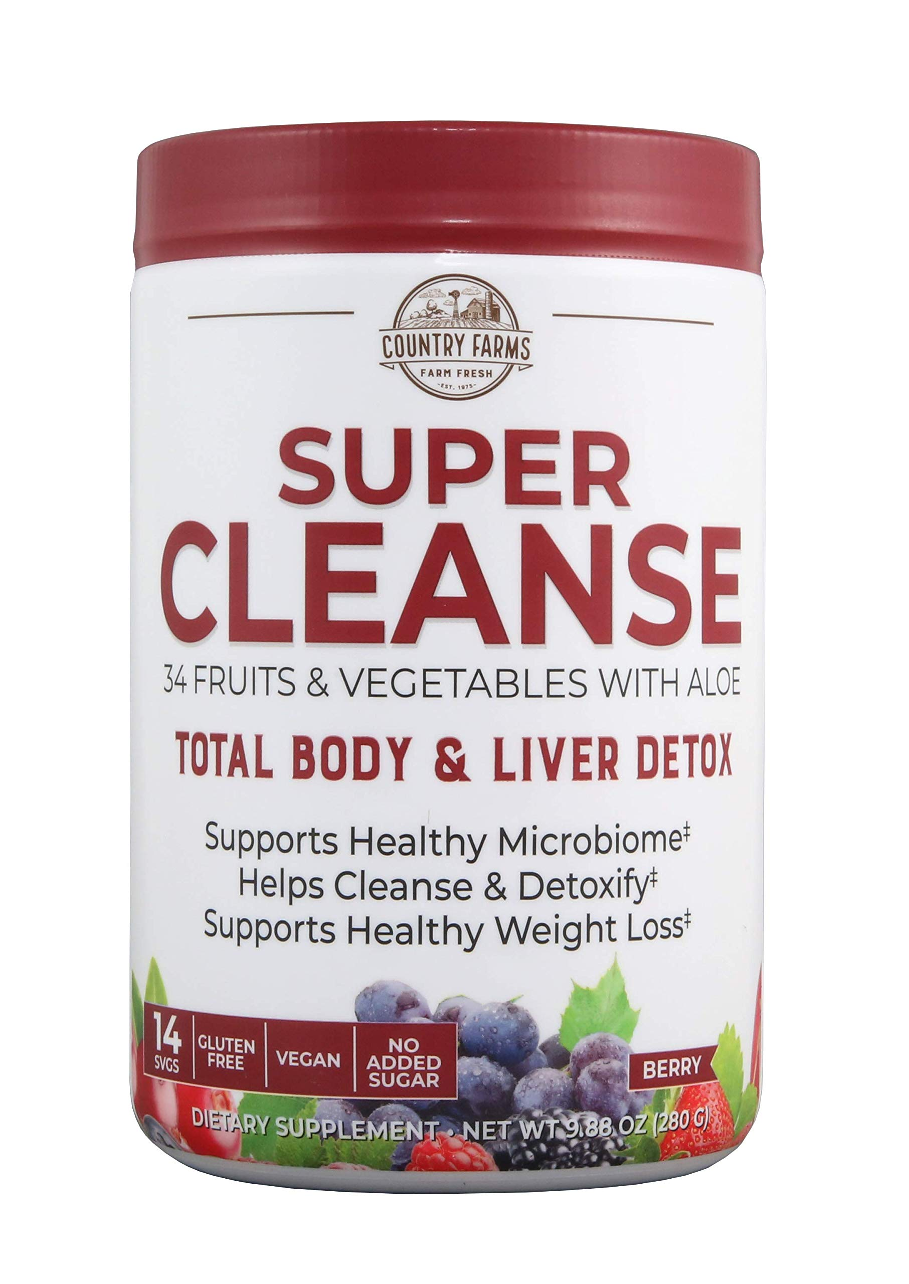 Country Farms Super Cleanse, Organic Super Juice Cleanse, Delicious Drink Powder, 14 Servings, 9.88 Oz (Packaging May Vary)