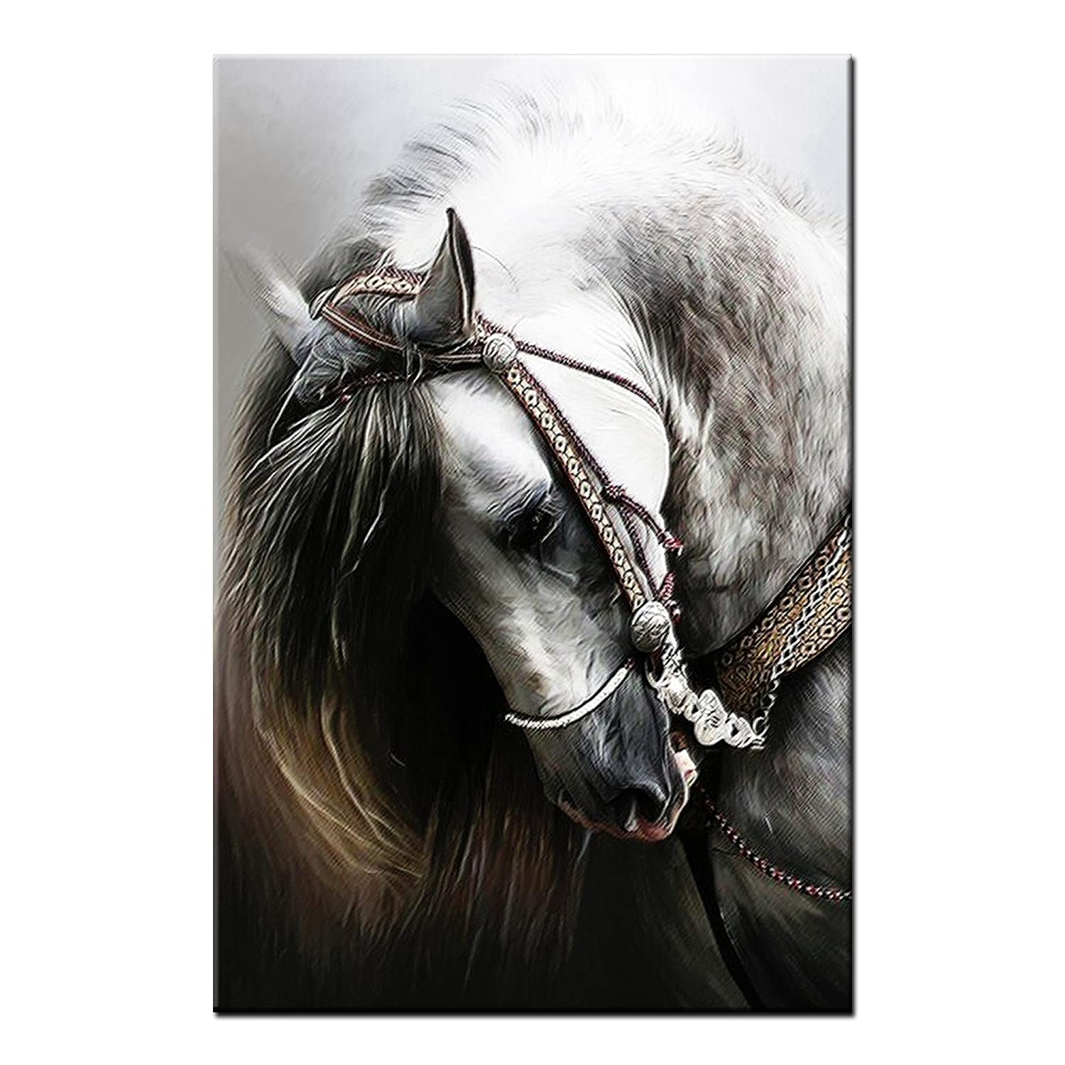 Framed Animal Canvas Art Prints Horse Head Wall Art Canvas Painting Print For Living Room Home Decoration Large