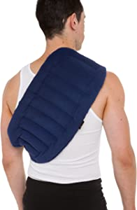 """SunnyBay Lower Back and Shoulder Joint Heat Wrap with Strap, 10""""x18"""" Heat Pad, Microwave Hot/Cold, Reusable, Portable, Navy Blue"""