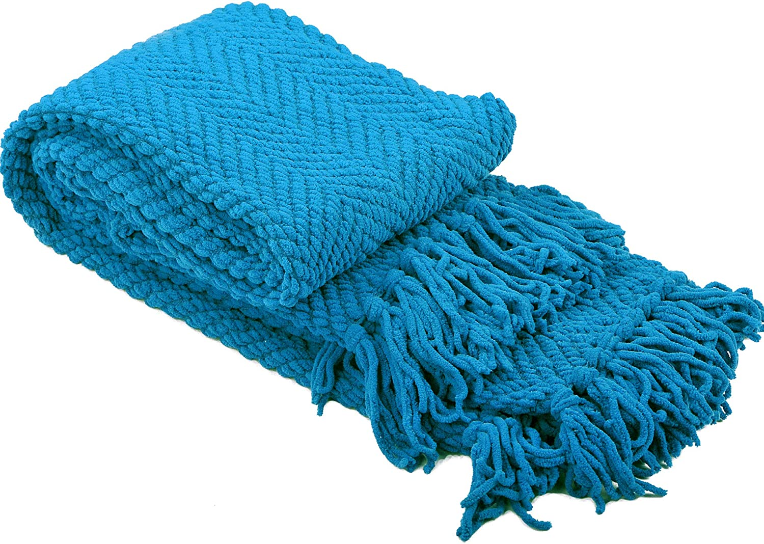 50 x 60 Home Soft Things Knitted Tweed Throw Couch Cover Blanket Aquamarine