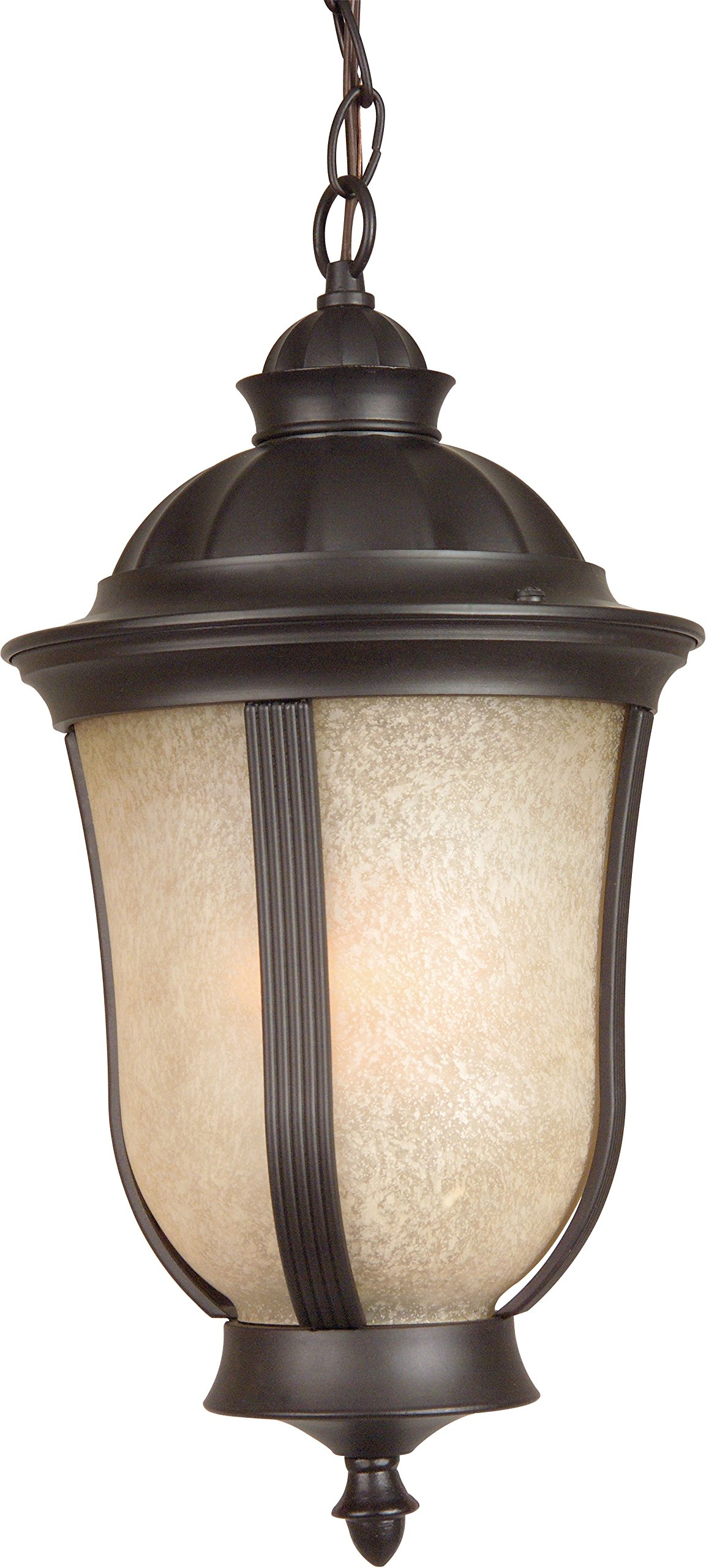 Craftmade Z6111-92-NRG Hanging Lantern with Antique Scavo Glass Shades, Oiled Bronze Finish by Craftmade