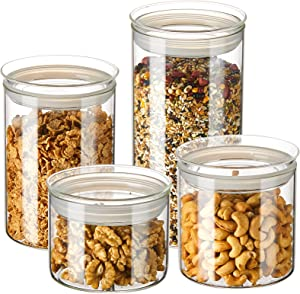 ZENS Glass Kitchen Canisters, Wide Mouth Airtight Storage Jars Set with Glass Lids, 4 Pack Large Tight Seal Cylinder Containers for Baking Flour Sourdough or Snack (23.6oz/32oz/50oz/74oz)