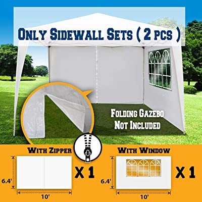 BenefitUSA 10'X6.4' Sidewalls for Tent Outdoor Pop Up Canopy Gazebo Marquee (with Zipper, White) : Garden & Outdoor