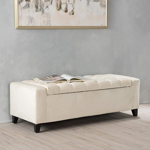 Seattle Ivory Velvet Tufted Storage Ottoman