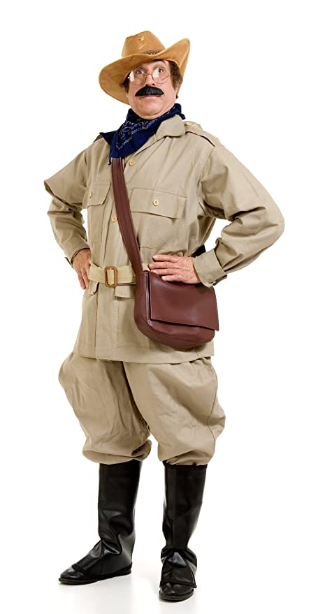 1930s Men's Costumes: Gangster, Clyde Barrow, Mummy, Dracula, Frankenstein Peter Alan Mens Teddy Roosevelt Adult Costume  AT vintagedancer.com