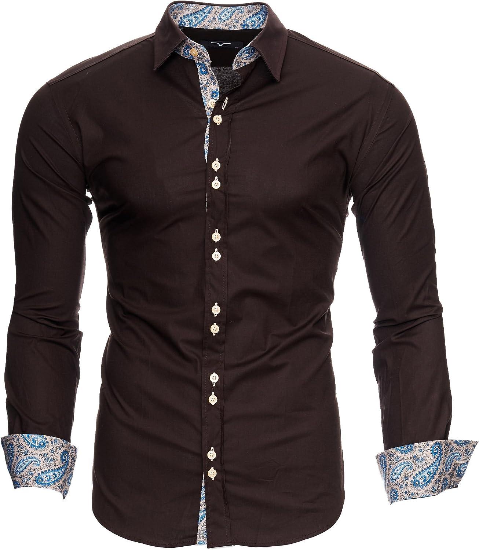 Kayhan Hombre Camisa Manga Larga Slim Fit S - 6XL Modello Royal