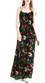 63543897f3 Zredurn Women's Floral Print Spaghetti Strap Casual Beach Party Maxi Dress