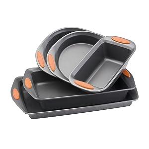 Rachael Ray Yum-o! Nonstick Bakeware 5-Piece Oven Lovin' Bakeware Set, Gray with Orange Handles
