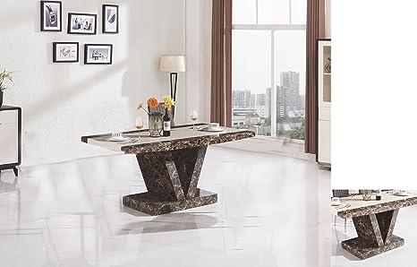 7star boni tavolo da pranzo con effetto marmo design moderno brown