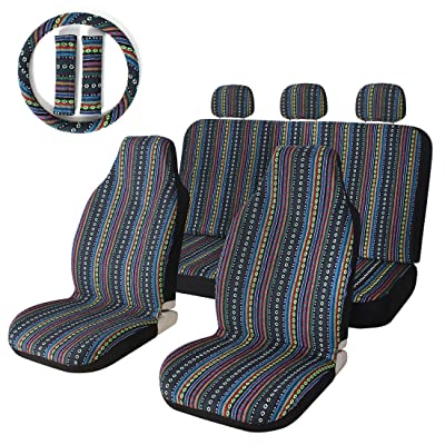 10pc Stripe Colorful Seat Cover Baja Blue Saddle Blanket Weave Universal Bucket Seat Cover with Steering Wheel Cover Front & Rear: Automotive