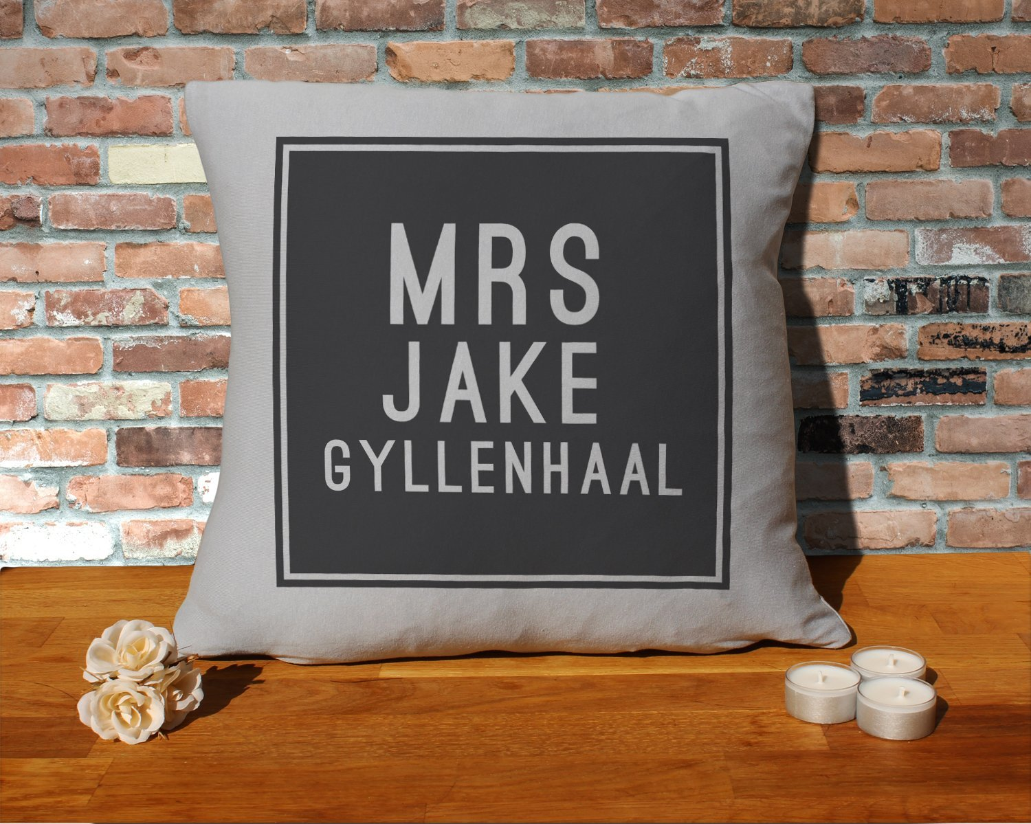 Jake Gyllenhaal Cushion Pillow - Silver Grey - 100% Cotton - Available with or without filling pad - 40x40cm (Cover and filling pad) The Stocking Fillers