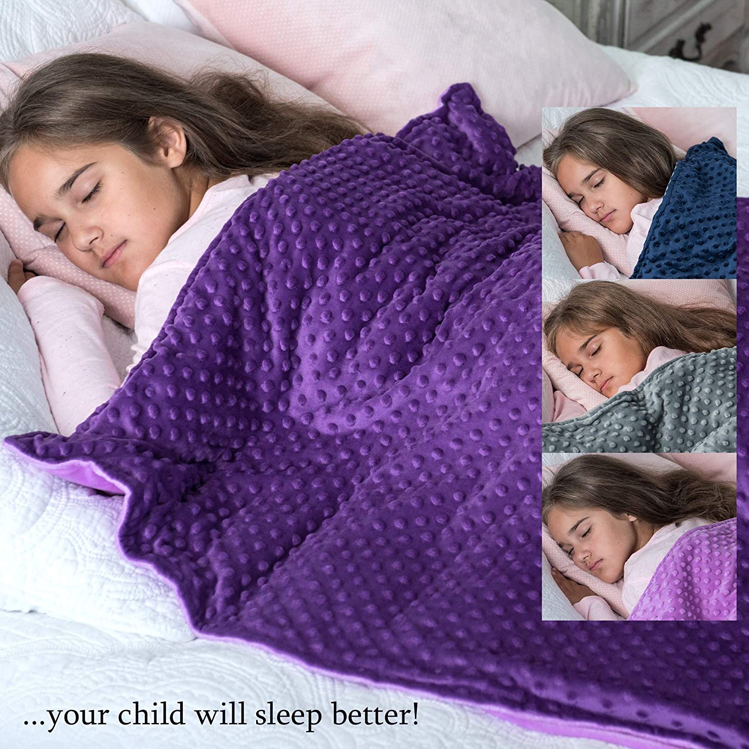 5lb Weighted Blanket with Dot Minky Cover for Kids 40-60lb Individual.Help Children with Sleep Issues Anxiety Stress Insomnia Inner Light Gray//Cover Gray /& Light Gray, 36x48 5 lbs