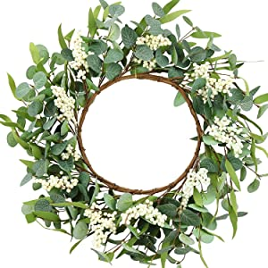 JUCK Artificial Eucalyptus Wreath 20inch Green Leaf Wreath for Front Door Hanging Wall Window Party Decoration