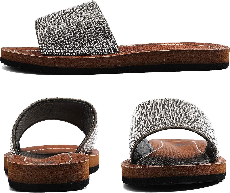 ARRIGO BELLO Women Sliders Diamond Sandals Latex Sole Sparkly Leather Summer Beach Flip Flops for Ladies Size 4-7UK