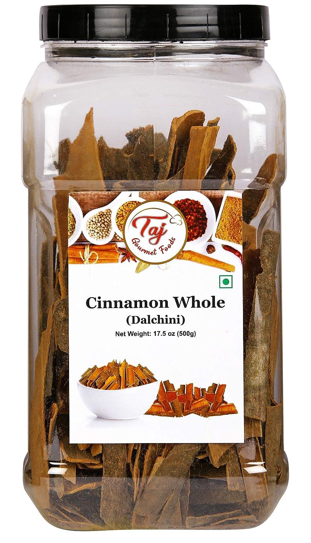TAJ Premium Indian Cinnamon Stick Flat, Dalchini, (17.6 Ounce Jar)