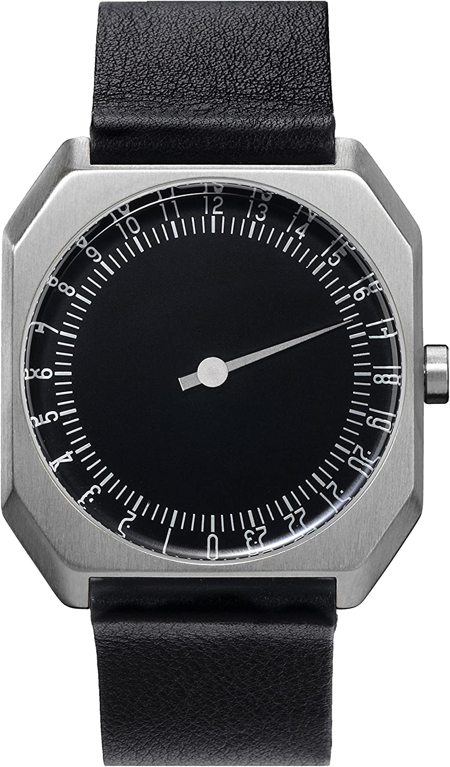 slow Jo 06 – Swiss Made one-hand 24 hour watch – Silver with black leather band