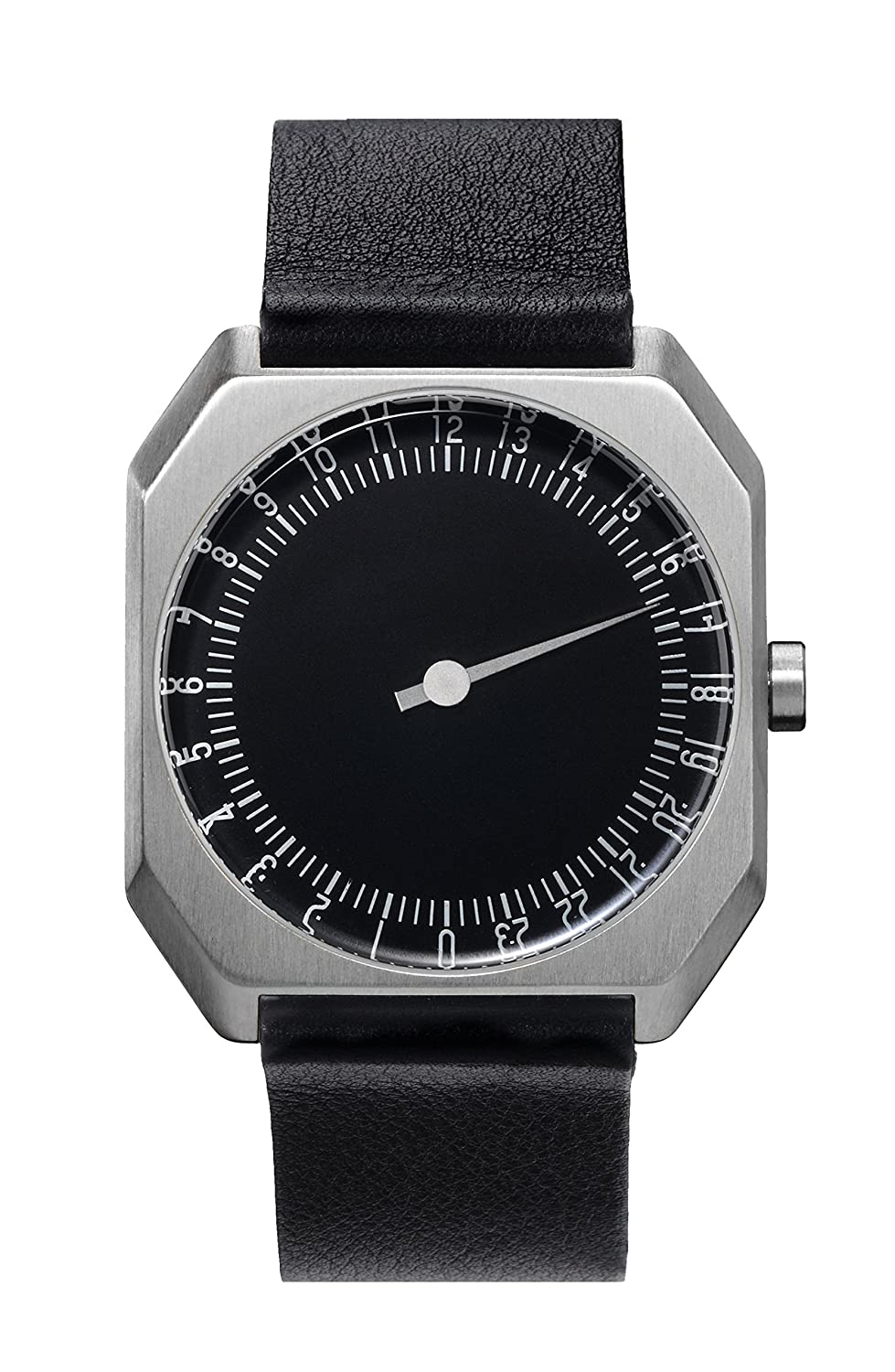 slow Jo 06 - Black Leather - Silver Case - Black Dial Analog Leder Schwarz slow Jo 06