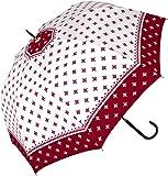 a.s.s.a 傘 レディース ジャンプ 長傘 おしゃれ 60㎝ ワンタッチ 雨傘 ラウンドフォルム ポインテッドフラワー(RJ032/ワイン)