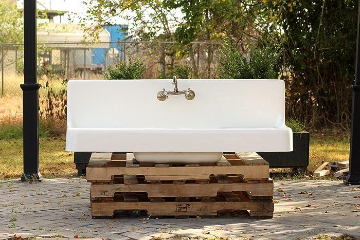 Large Antique Style Farm Sink Double Drainboard High Back Apron Cast Iron  Porcelain Kitchen Sink Package