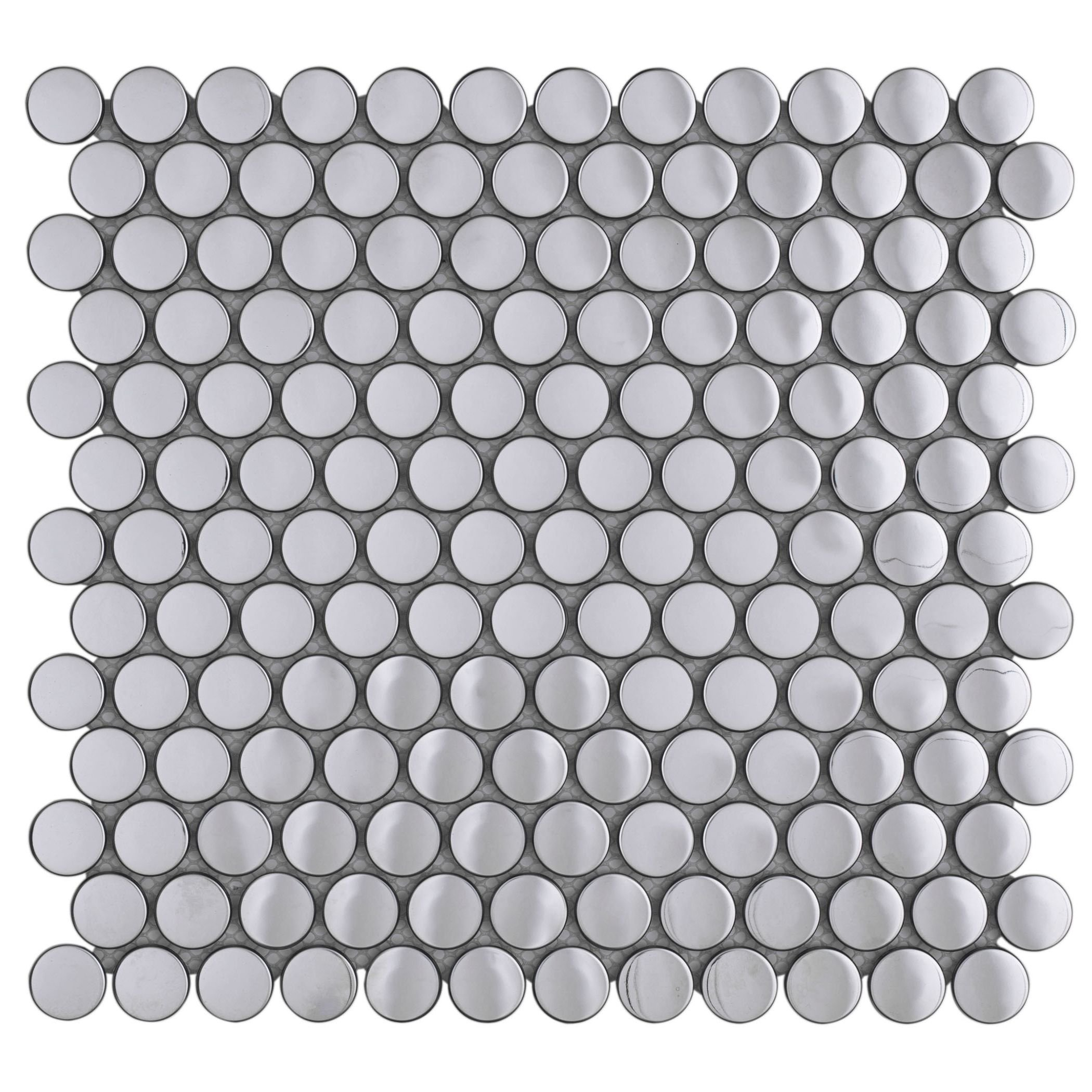 Penny Round Mirror Stainless Steel Metal Mosaic Tile for Kitchen Backsplash (10 Sheets)