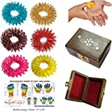 Super India Store Acupressure Massage Sujok Rings For Fingers In Assorted Color Set Of 6 Pcs + Health Products
