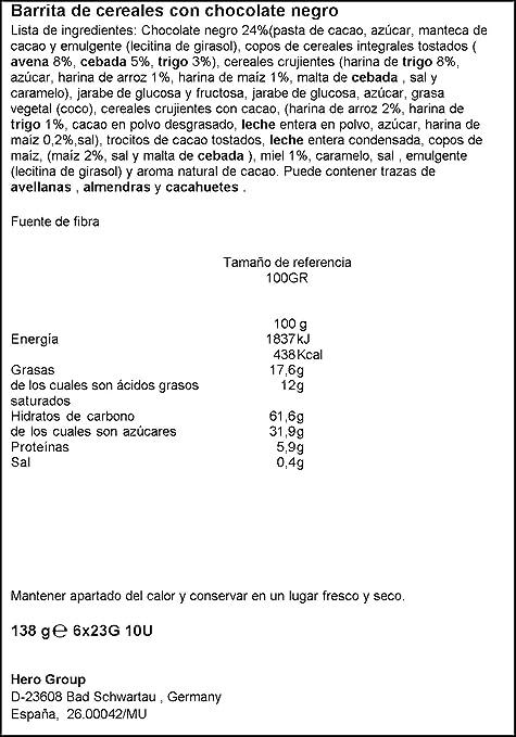 Hero Muesly Barritas de Chocolate Negro - Pack de 6 x 23 g - Total ...