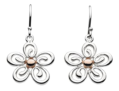 022a4652f Dew Sterling Silver and Rose Gold Plate Geranium Drop Earrings: Amazon.co.uk:  Jewellery
