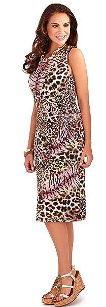 Alluring Ladies Animal Print sin mangas corto vestido de verano con detalle de giro lateral,
