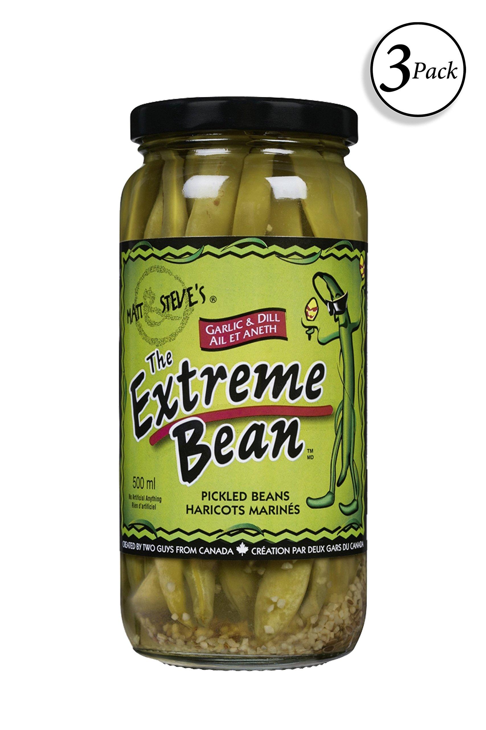 The Extreme Bean - Garlic & Dill, Pickled Green Beans. 16 oz (3 pack) by Matt & Steve's