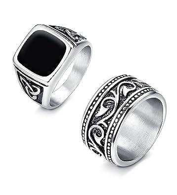 Amazon.com: Finrezio - Juego de 2 anillos de acero ...