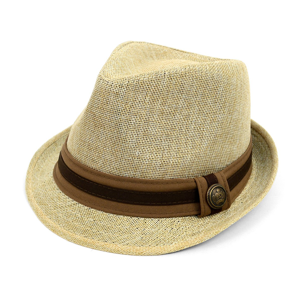 West End Linen Weave Fashion Fedora with Two-Tone Band & Button