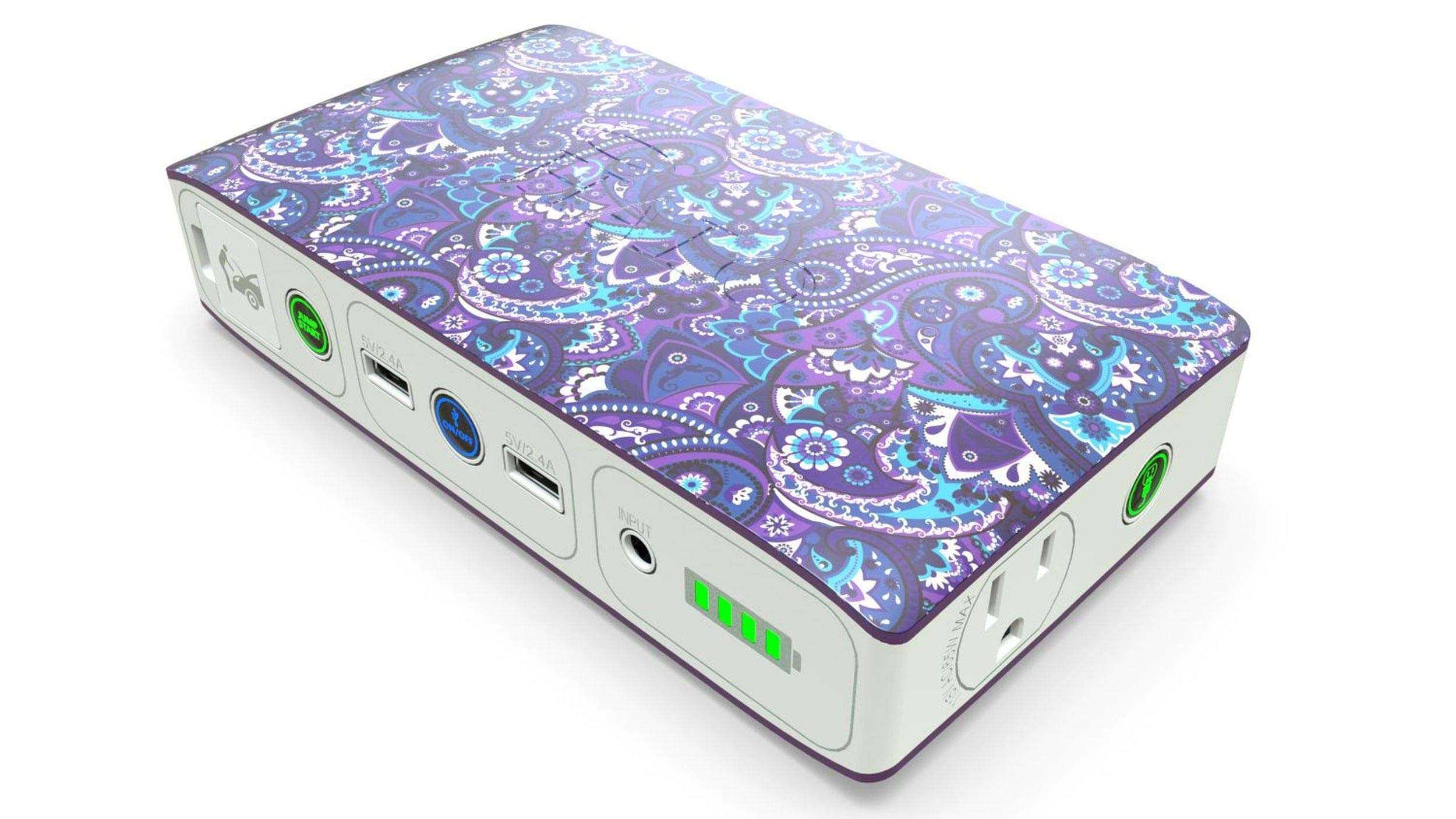HALO Bolt 58830 mWh Portable Phone Laptop Charger Car Jump Starter with AC Outlet and Car Charger - Violet Paisley