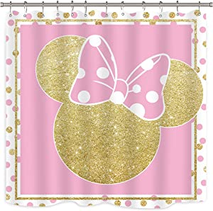 Riyidecor Pink Mouse Shower Curtain Golden Dot Bowknot Golden Mouse Head Polka Dot Cartoon Kids for Girl Bathroom Home Decor Fabric Polyester Waterproof 72x72 Inch 12 Pack Plastic Hooks