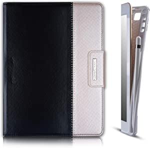 Thankscase Case for iPad 9.7 2018 2017 / iPad Pro 9.7 / iPad Air 2, Rotating TPU Smart Cover with Pencil Holder, Swivel Leather Case with Wallet Pocket, Hand Strap, Smart Cover (Black Champagne)