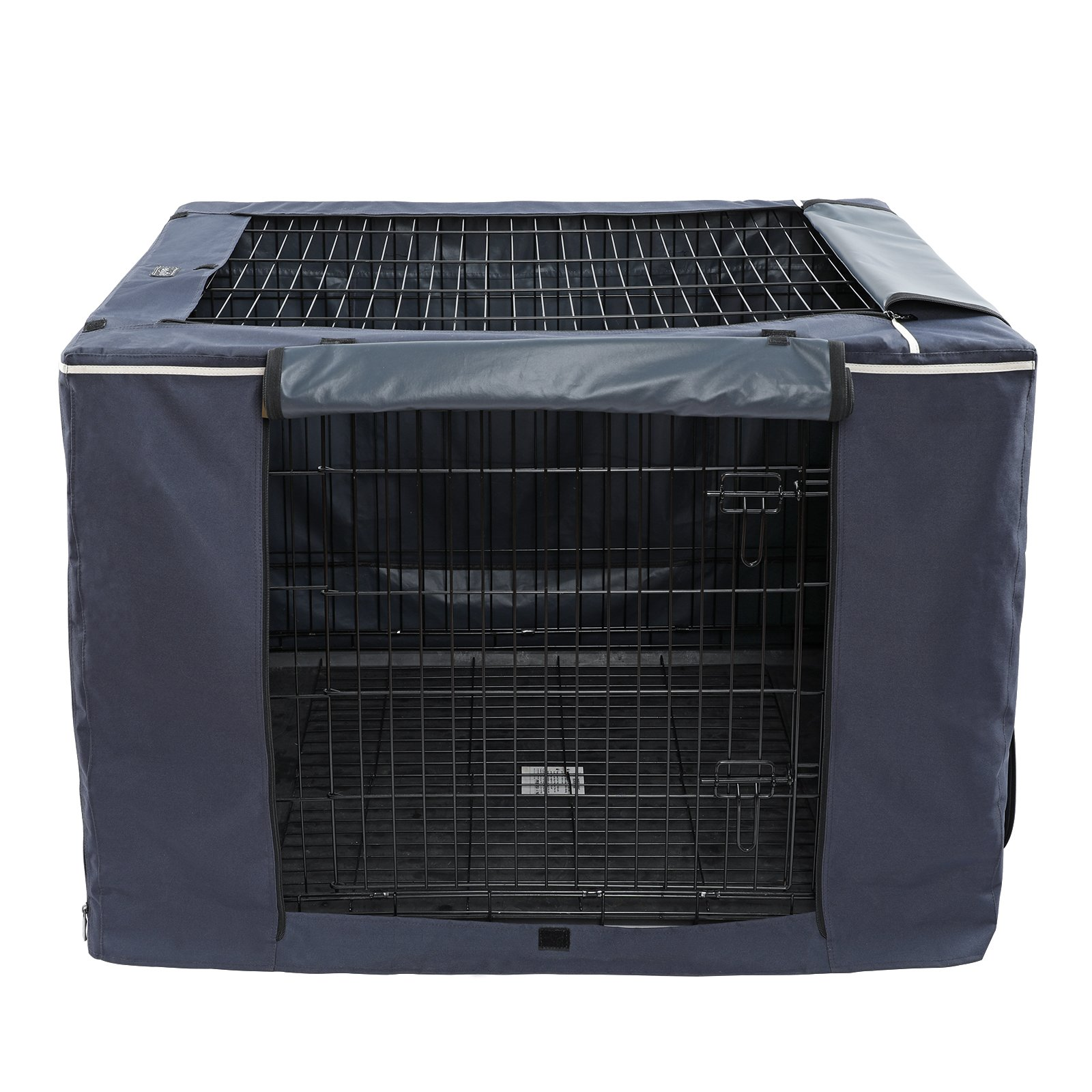 """Petsfit Oxford Cloth Pet Kennel Cover for Wire Dog Crates 42""""L x 28""""W x 30""""H, With Three-Side and Top Windows, Back Zipper, Dark Blue by Petsfit (Image #8)"""