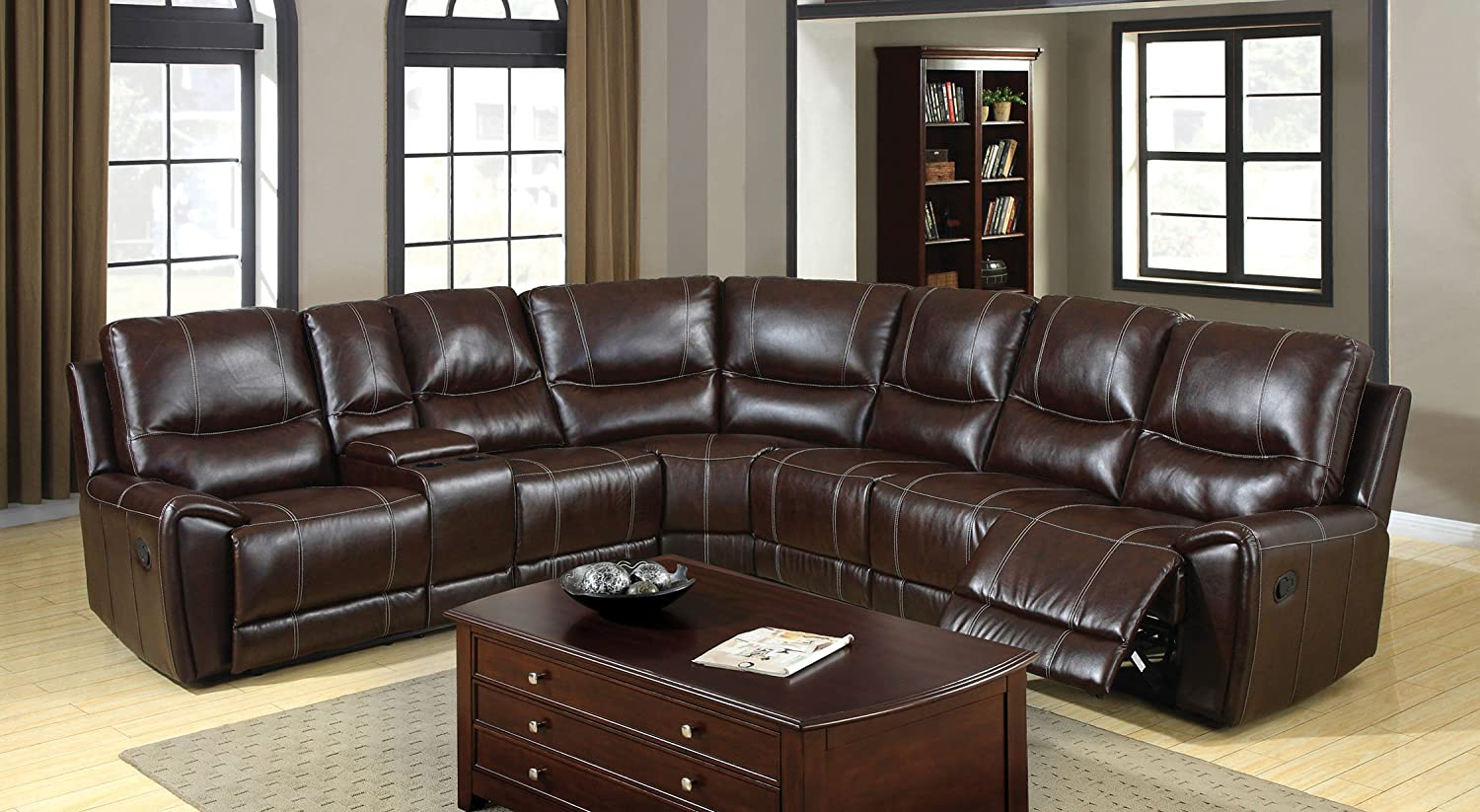 Amazon.com Furniture of America Reeden Bonded Leather Match Sectional Sofa with 3 Recliners Brown Kitchen u0026 Dining & Amazon.com: Furniture of America Reeden Bonded Leather Match ... islam-shia.org