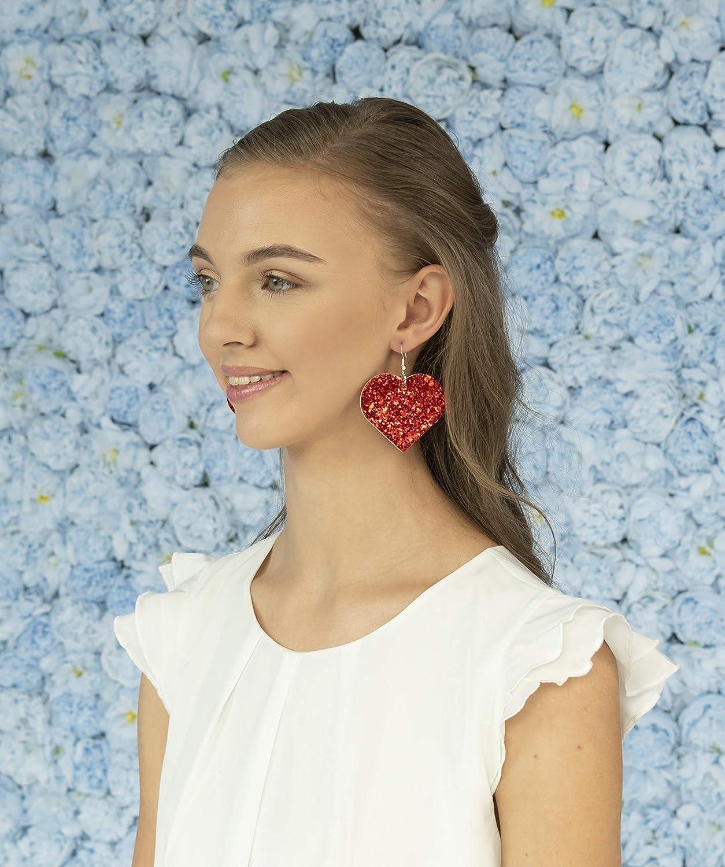 Red Glitter Faux Leather Large Heart Dangle Earrings