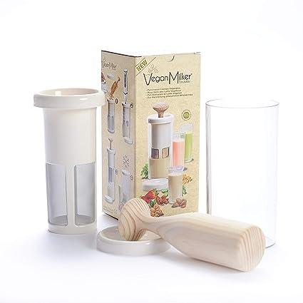 Vegan Milker Premium (by Chufamix), Filtro para Hacer leches Vegetales con Cualquier semilla. Elabora 1 litro en 1 Minuto. Mortero de Madera. E-Book ...