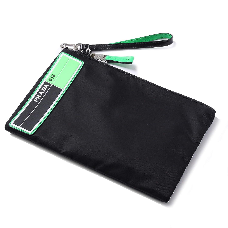 【PRADA(プラダ)】クラッチバッグ flat pouch with wristlet ポーチ ブラック×グリーン NERO VERDE FLUO セカンドバック 2NH006 2BTE F0XVS00 [並行輸入品] B07RL16JW1