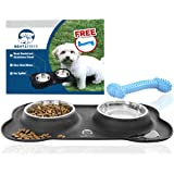 No Spill Dog Bowls by Bent&Freck - Non Skid Mat with Stainless Steel Bowls and Bonus Chew Toy - Perfect Feeding Tray for Small Dogs and Puppies - Untippable Holder Prevents Food, Water Spills and Mess