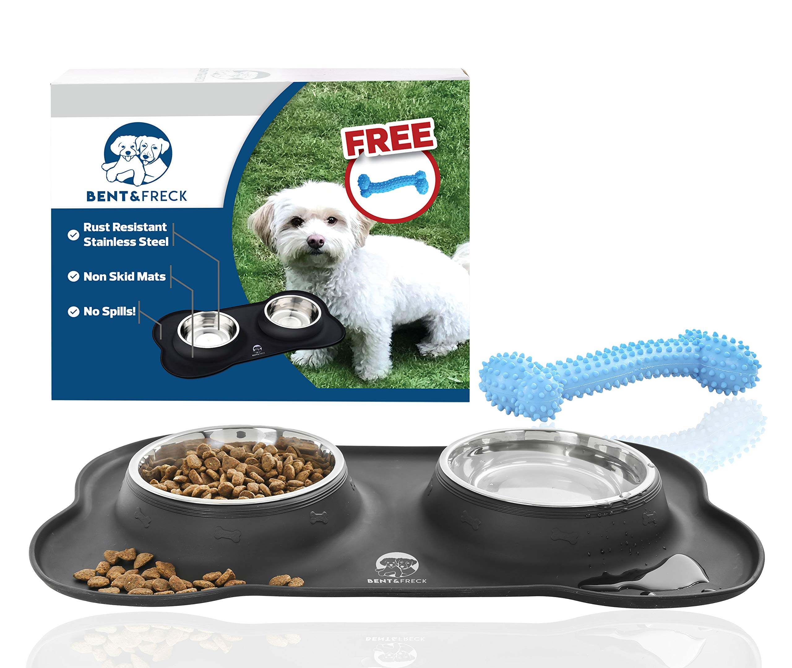 No Spill Dog Bowls by Bent&Freck - Non Skid Mat with Stainless Steel Bowls and Bonus Chew Toy - Perfect Feeding Tray for Small Dogs and Puppies - Untippable Holder Prevents Food, Water Spills and Mess by Bent&Freck