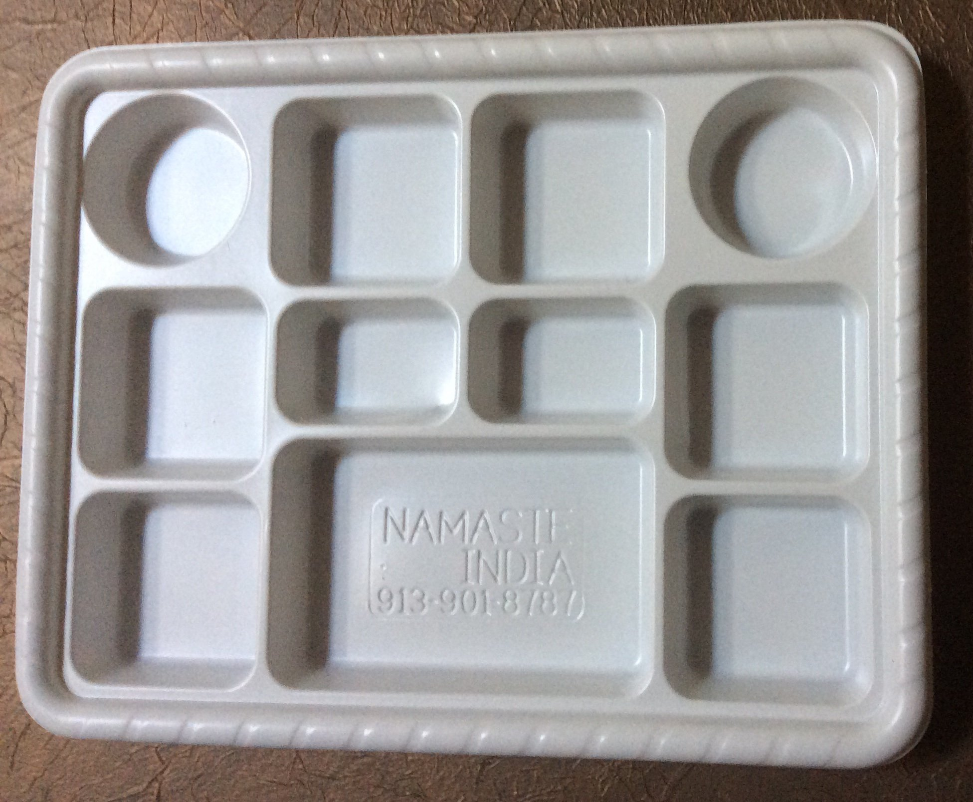 Eleven Compartment (Section) Disposable Plastic Plate or Thali - 50 Plates