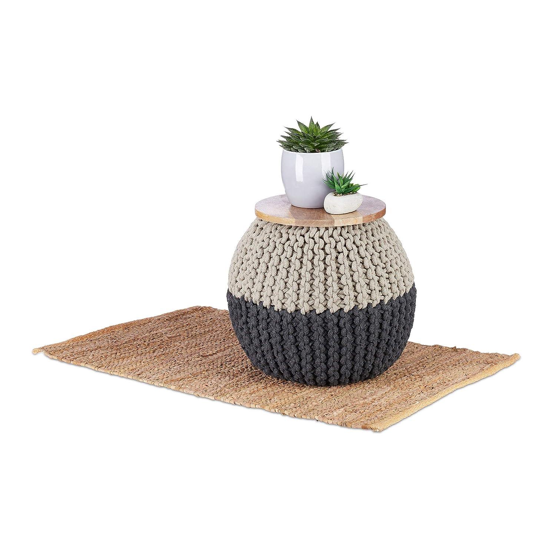 Petit Pouf Rond Table /& Si/ège Native Home Tabouret 2 en 1 HLP 40 x 40 x 40 cm Coton Bleu-Gris Tricot/é