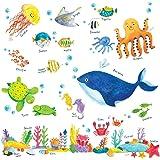 DECOWALL DW-1311 Sotto il Mare Adesivi da Parete Decorazioni Parete Stickers Murali Soggiorno Asilo Nido Camera da Letto per Bambini (Ver. Inglese)