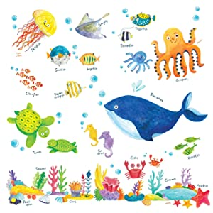 Decowall DW-1311 Under the Sea Kids Wall Stickers Wall Decals Peel and Stick Removable Wall Stickers for Kids Nursery Bedroom Living Room