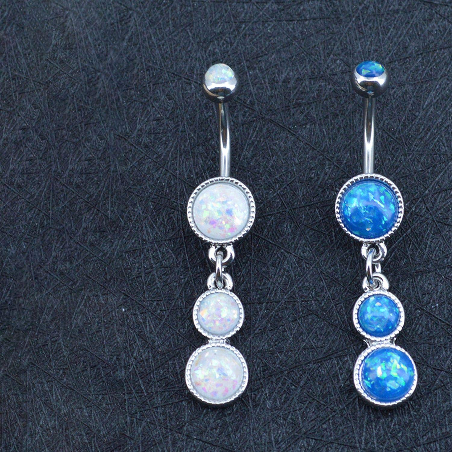 Opal Navel Piercing Belly Button Ring Stainless Steel Retro Piercing